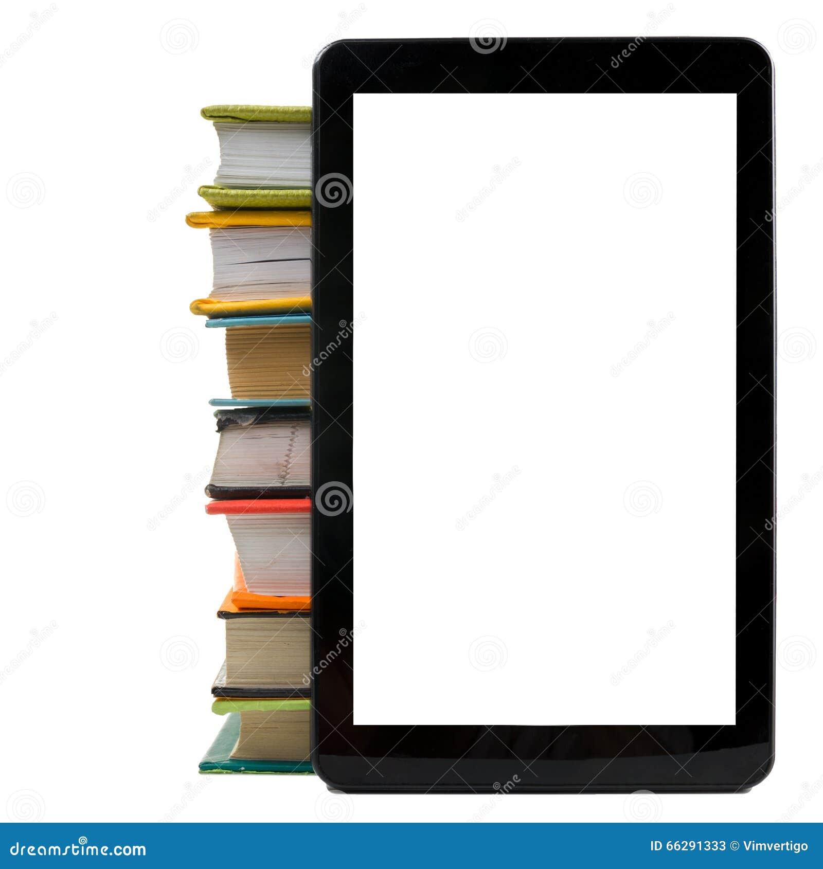 Pilha de livros coloridos e de leitor eletrônico do livro Conceito eletrônico da biblioteca De volta à escola Copie o espaço