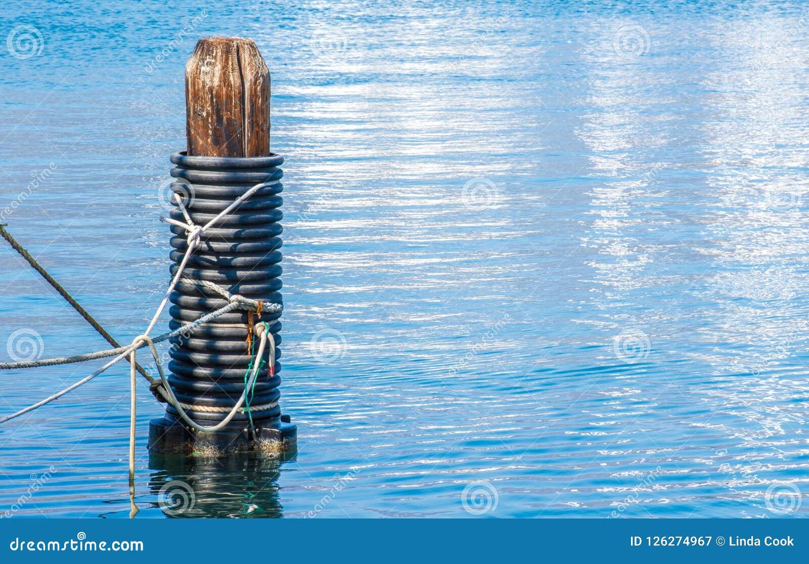 Pilha de madeira resistida em um porto de Califórnia