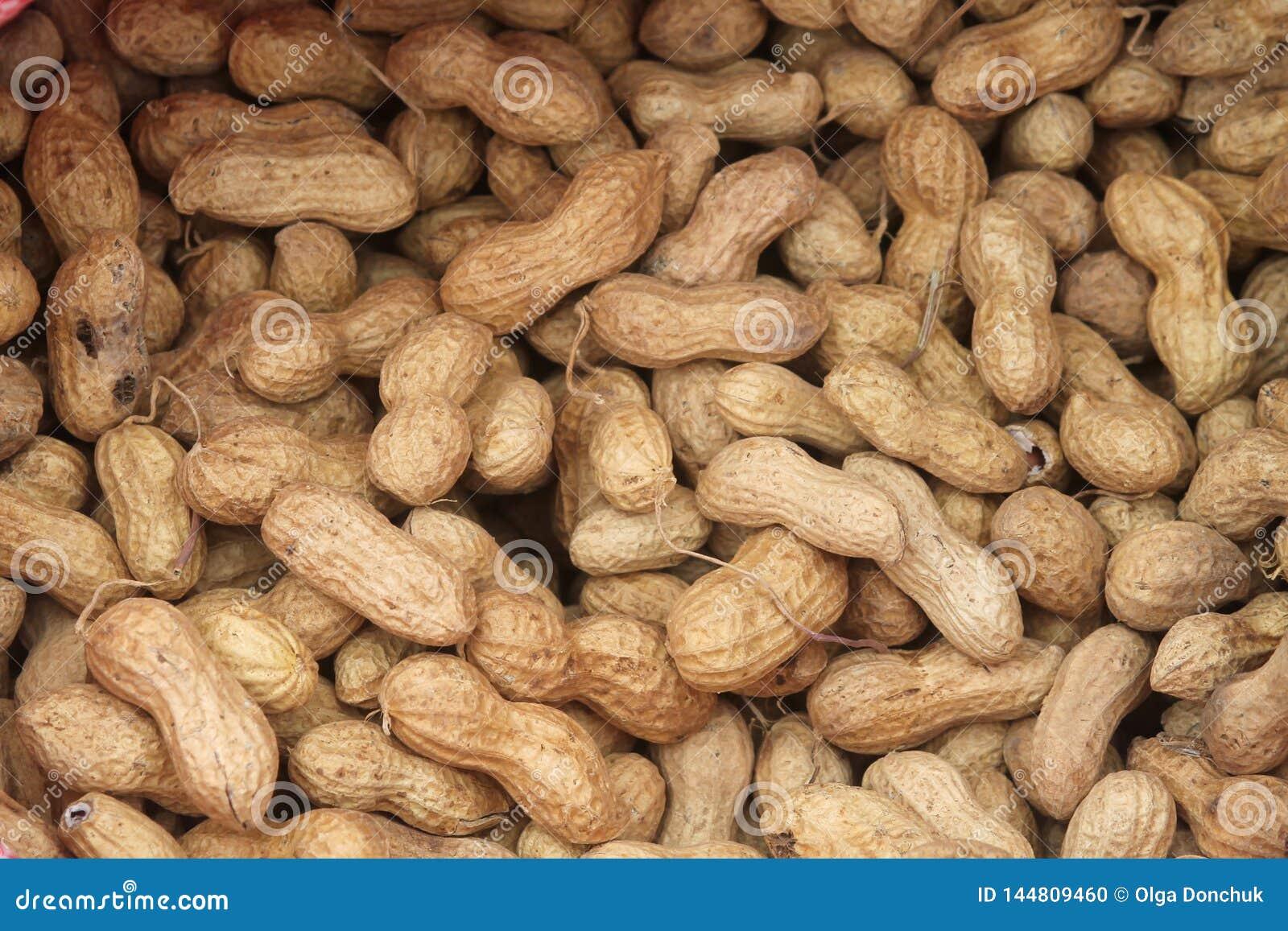 Pilha grande de amendoins unshelled