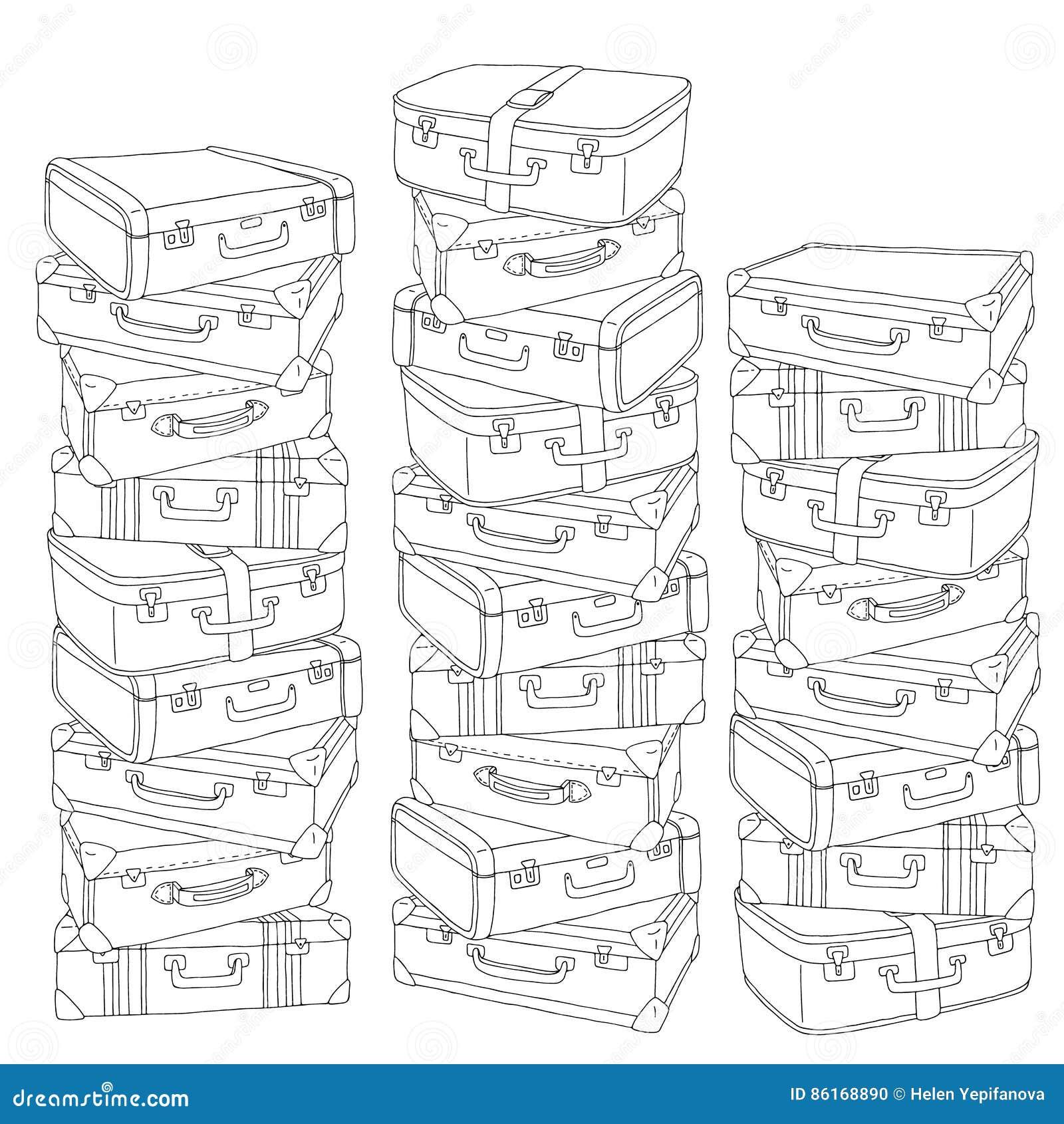 pilha tirada mão do vetor de ilustração retro velha das malas de