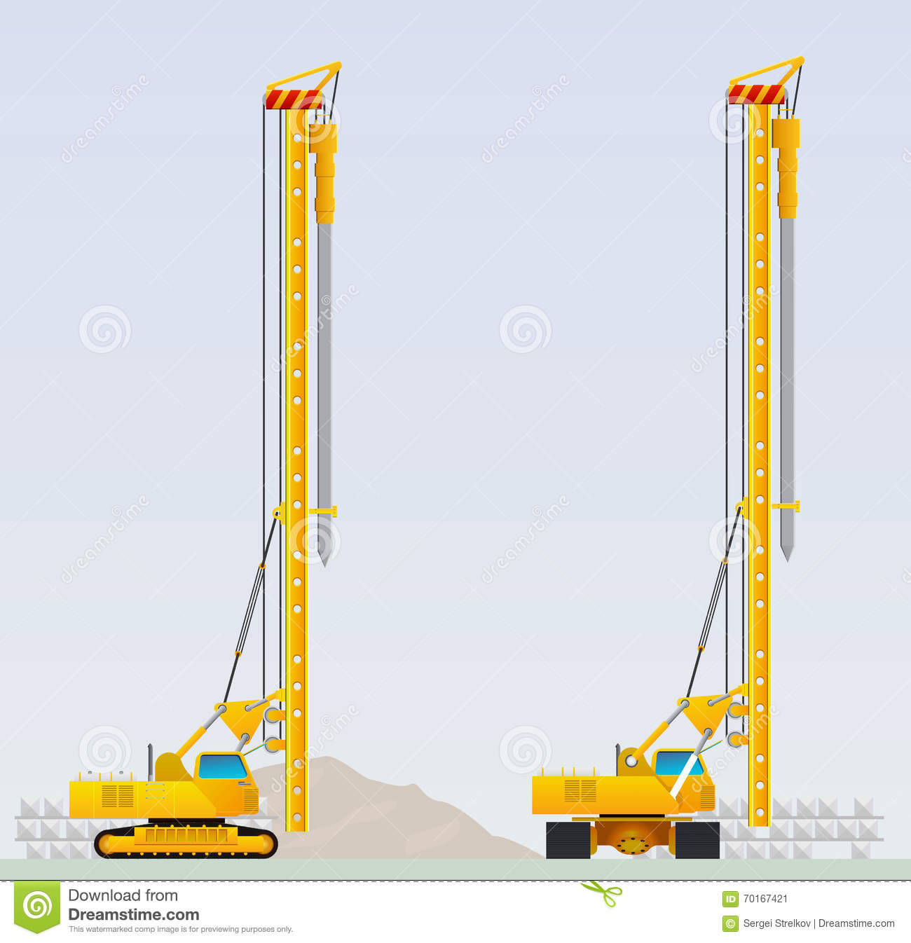 Piling Machine Before Clogging Piles Stock Vector