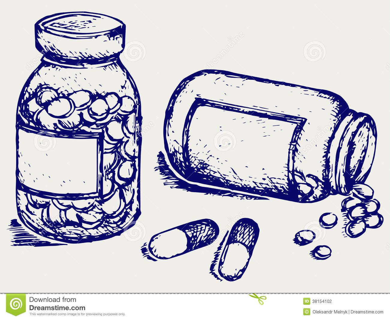 Pill Bottle Spilling Pills On To Surface Stock Vector