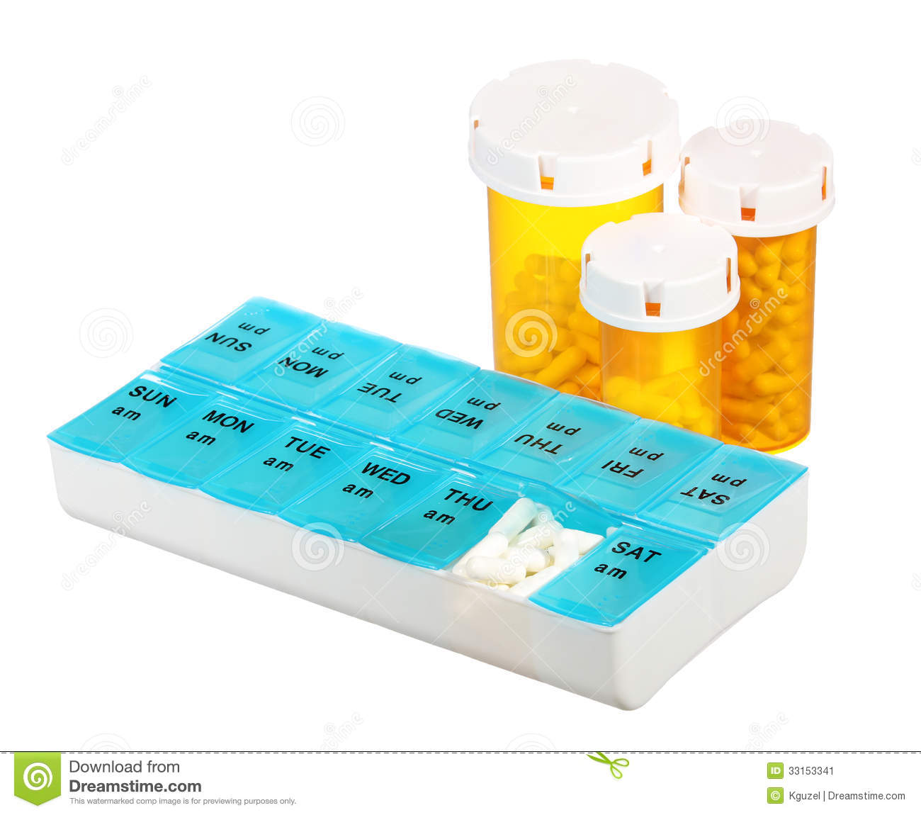 Pill bottles and medicine dose box isolated on white background. Weekly dosage of medication in pill dispenser