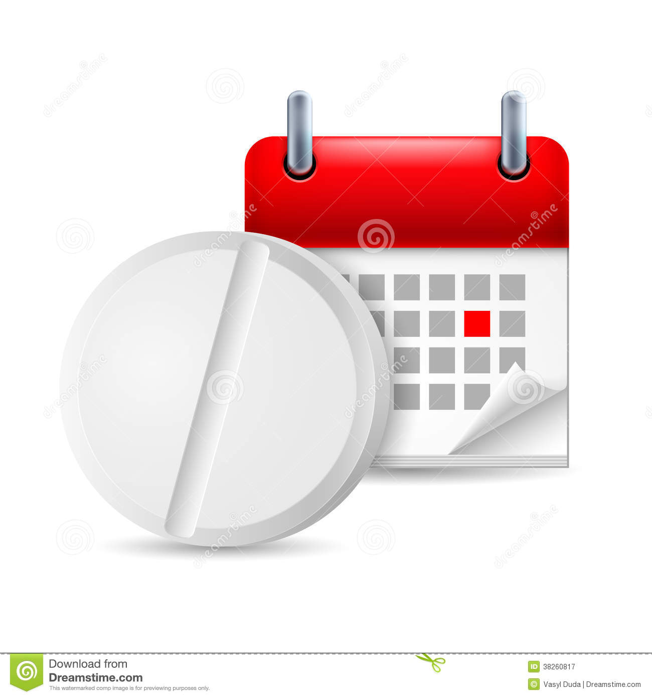Pill And Calendar Royalty Free Stock Photography - Image: 38260817