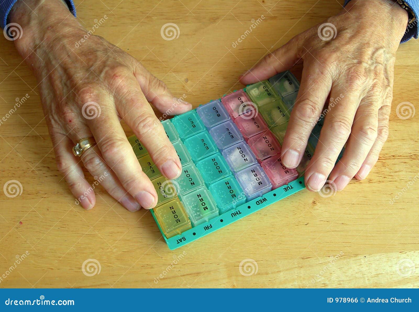 Pill för behållareåldringhänder