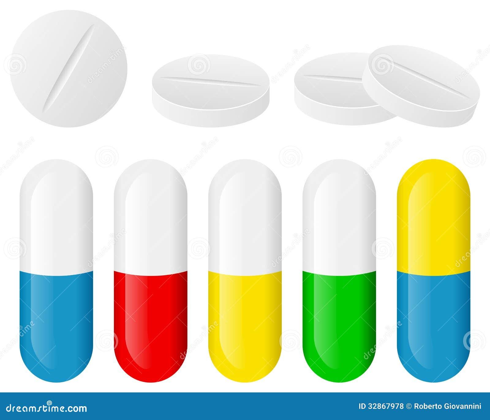 Medicine: Pill Tablet Medicine Healthcare Set Royalty Free Stock