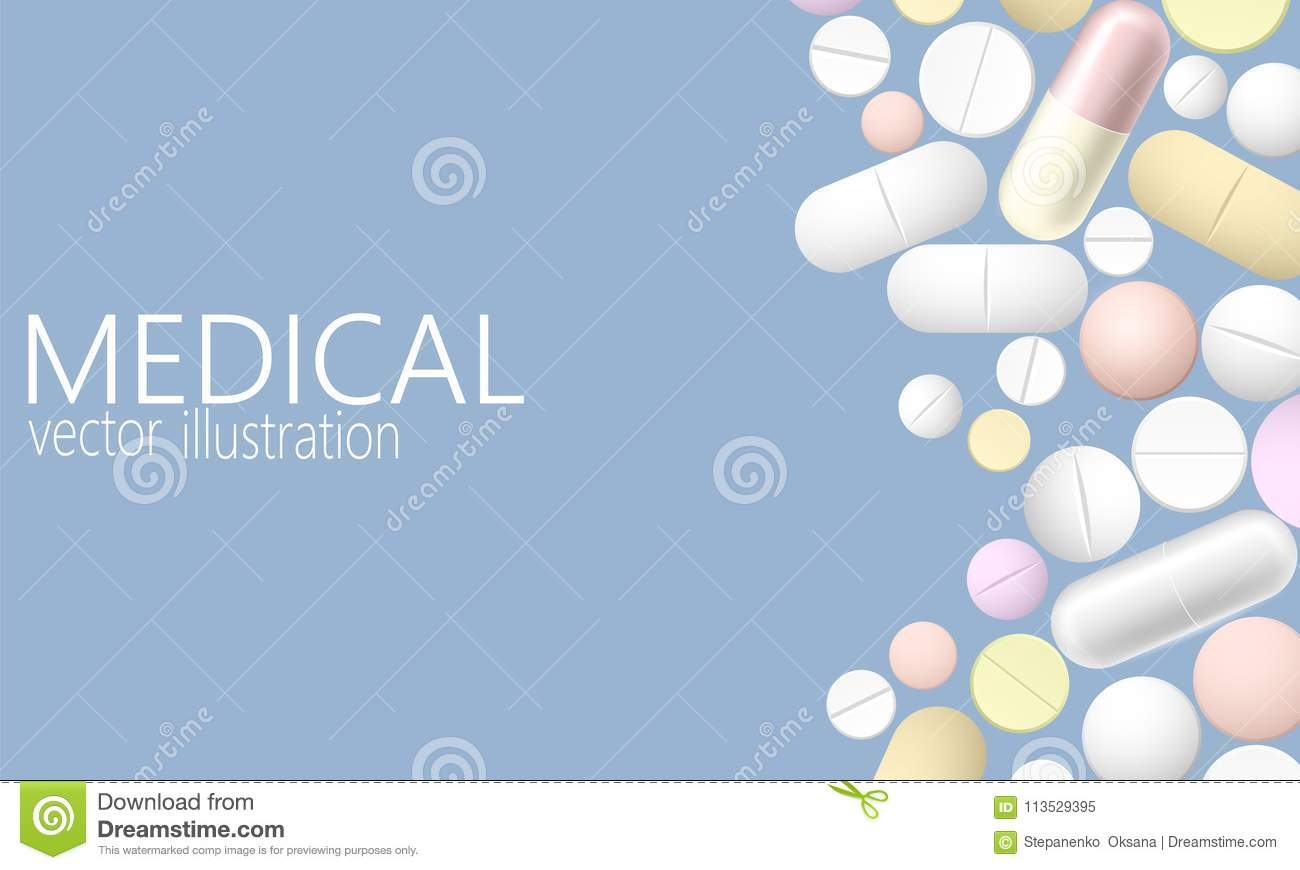 Pill and tablets, medicine isolated on blue background. Heap of realistic 3D medicines, capsules, drug. Healthcare