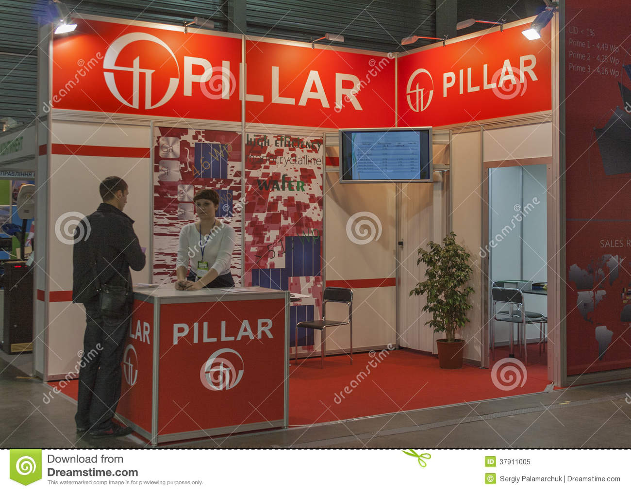 Trade Show Booth Visitors : Pillar ukrainian company booth editorial image