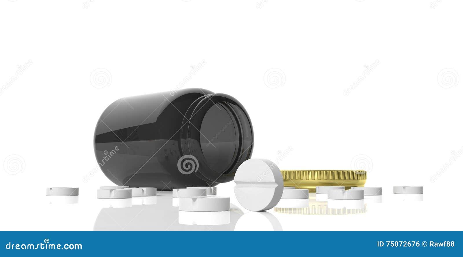 Pillen der Wiedergabe 3d verschüttet auf weißem Hintergrund