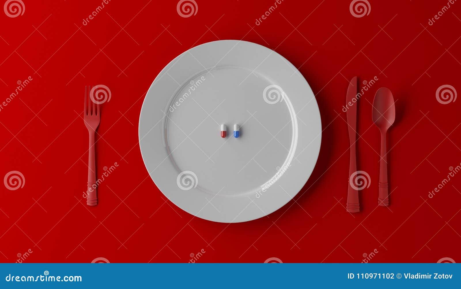 Pillen die als gezonde maaltijd worden gediend Drugcapsule op witte plaat op rode achtergrond 3D Illustratie