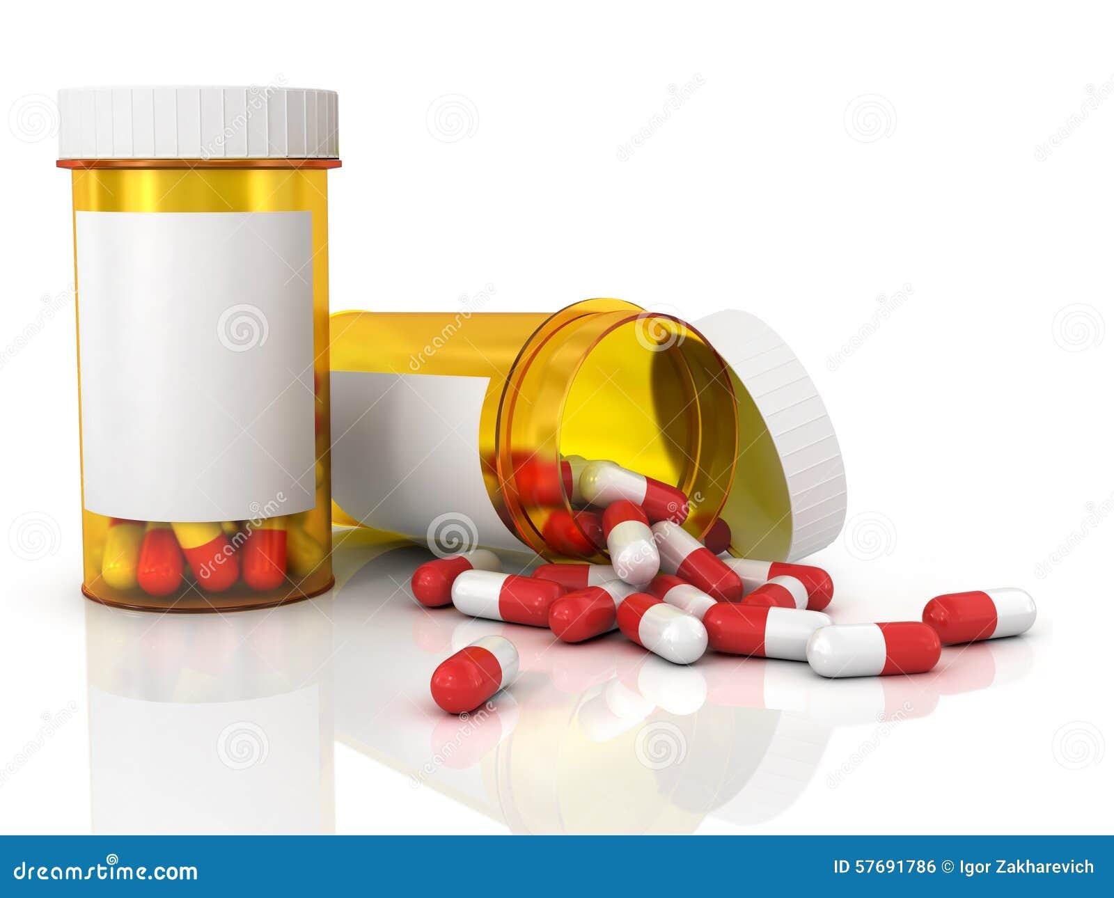 Pillen, die aus Pilleflasche heraus verschüttet werden
