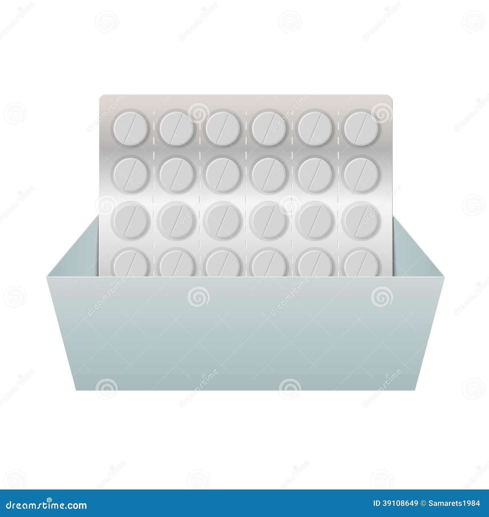 Pillen in een blaarpak in een doos.