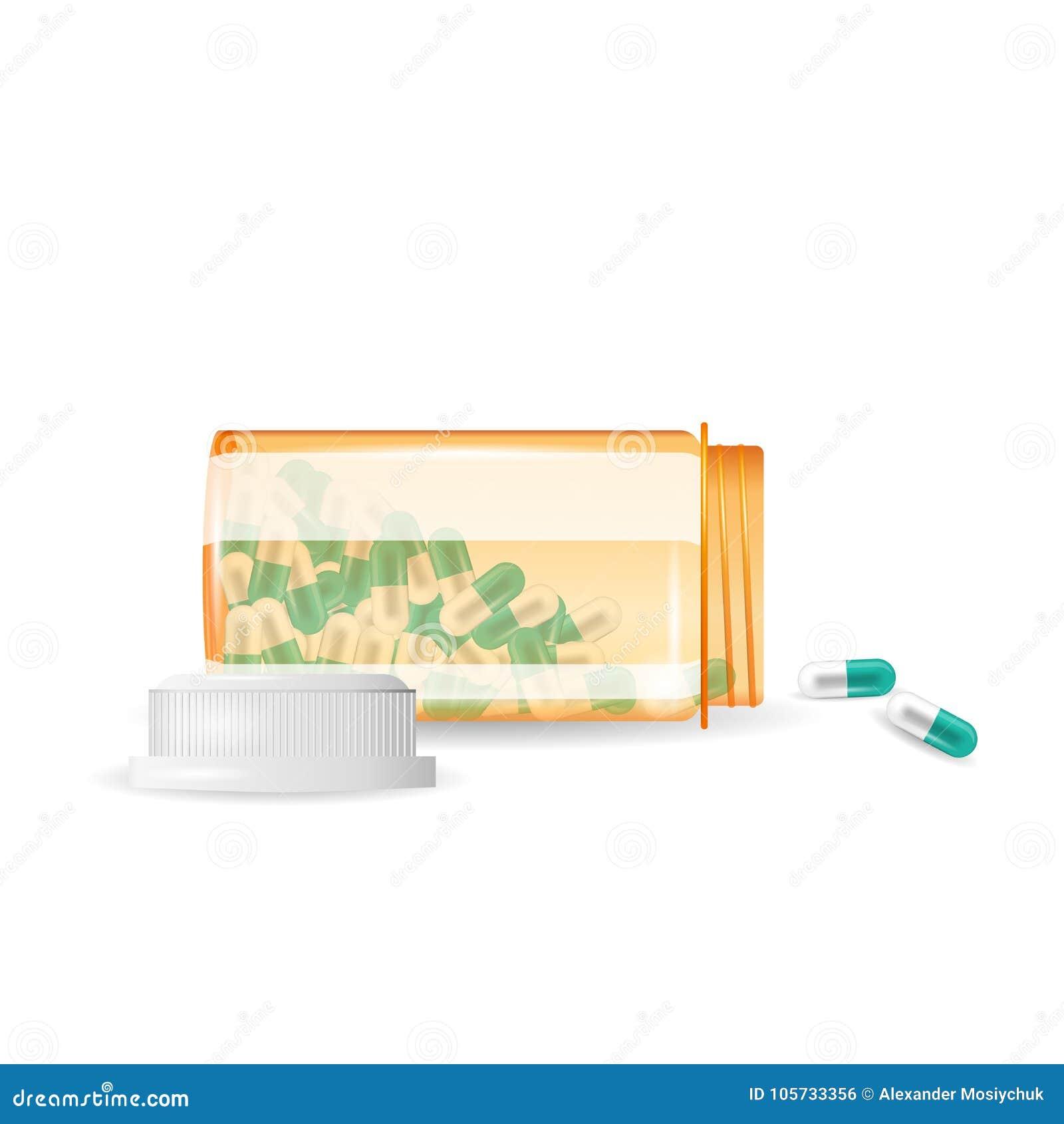 Pillen werden aus einer Flasche heraus verschüttet Realistische vektorabbildung Tablets in einer Flasche lokalisiert auf dem weiß