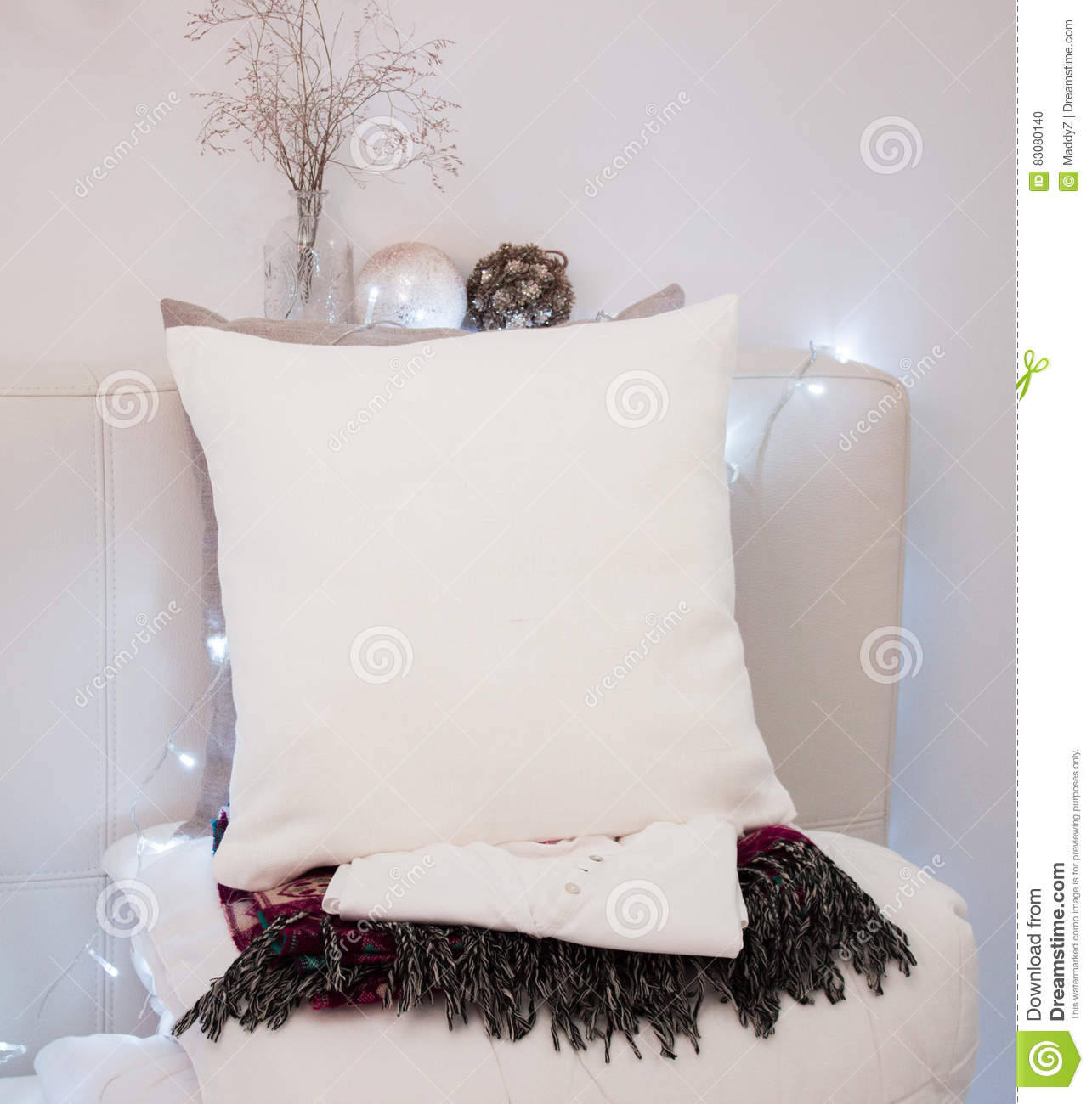 Pillow Case Mockup White On Bed In Cozy Bedroom Stock Photo
