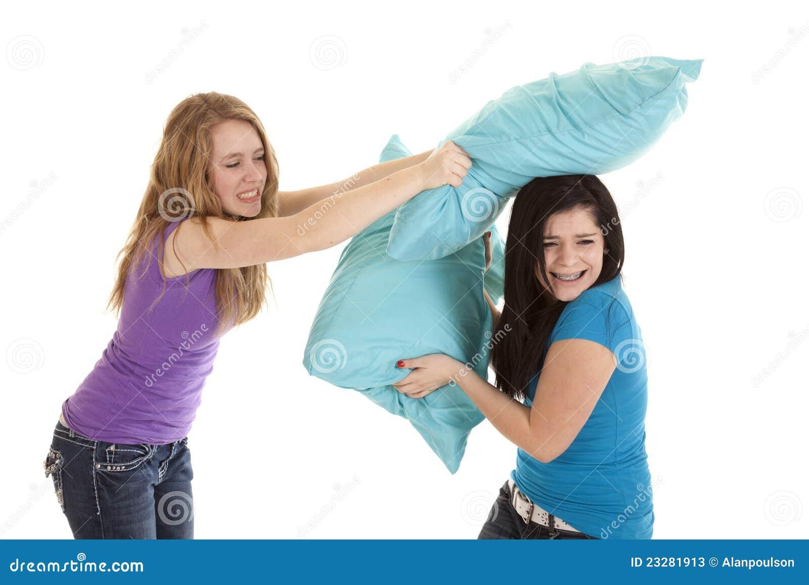 Pillow fight girls