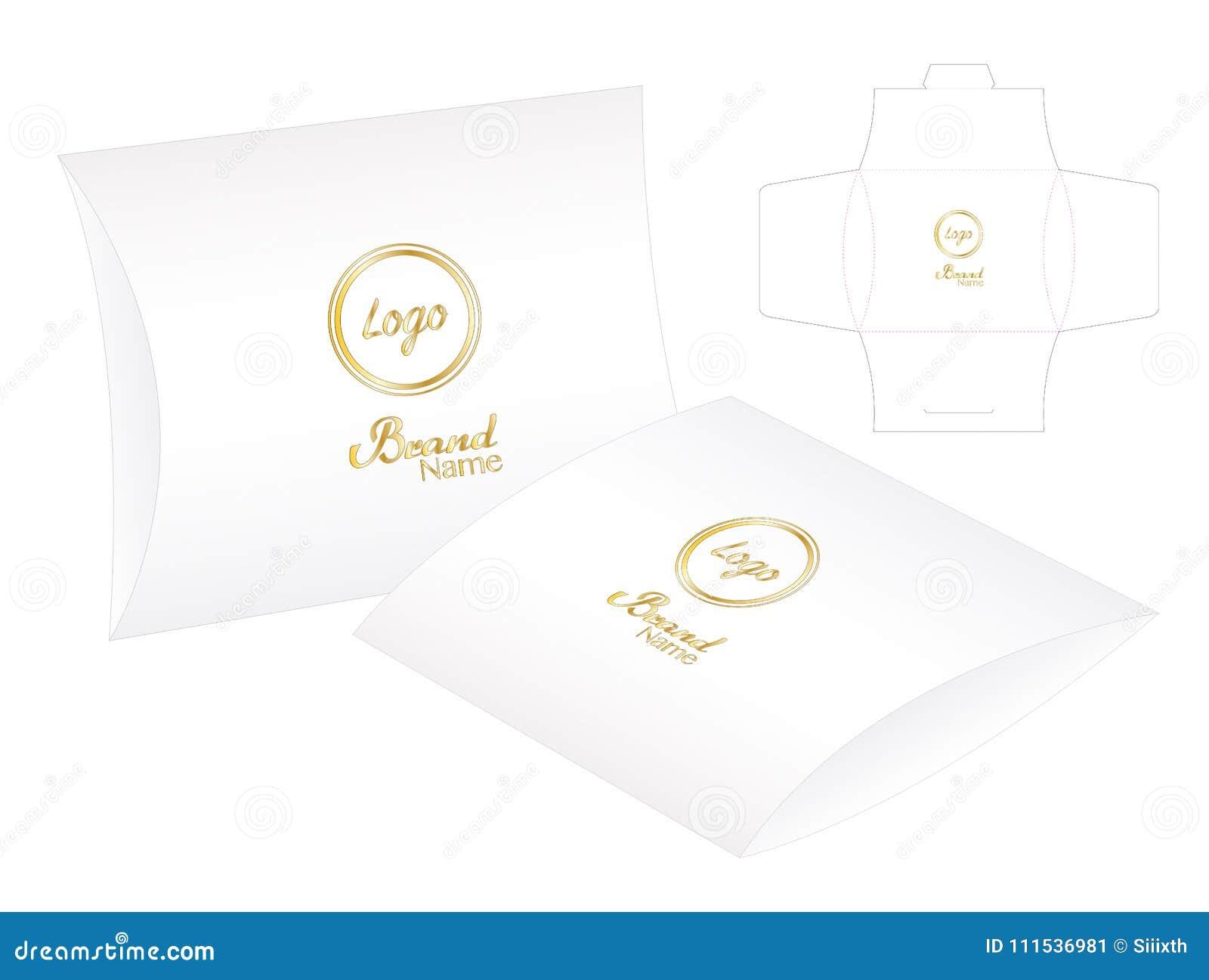pillow pack box die cut template mockup 3d stock vector