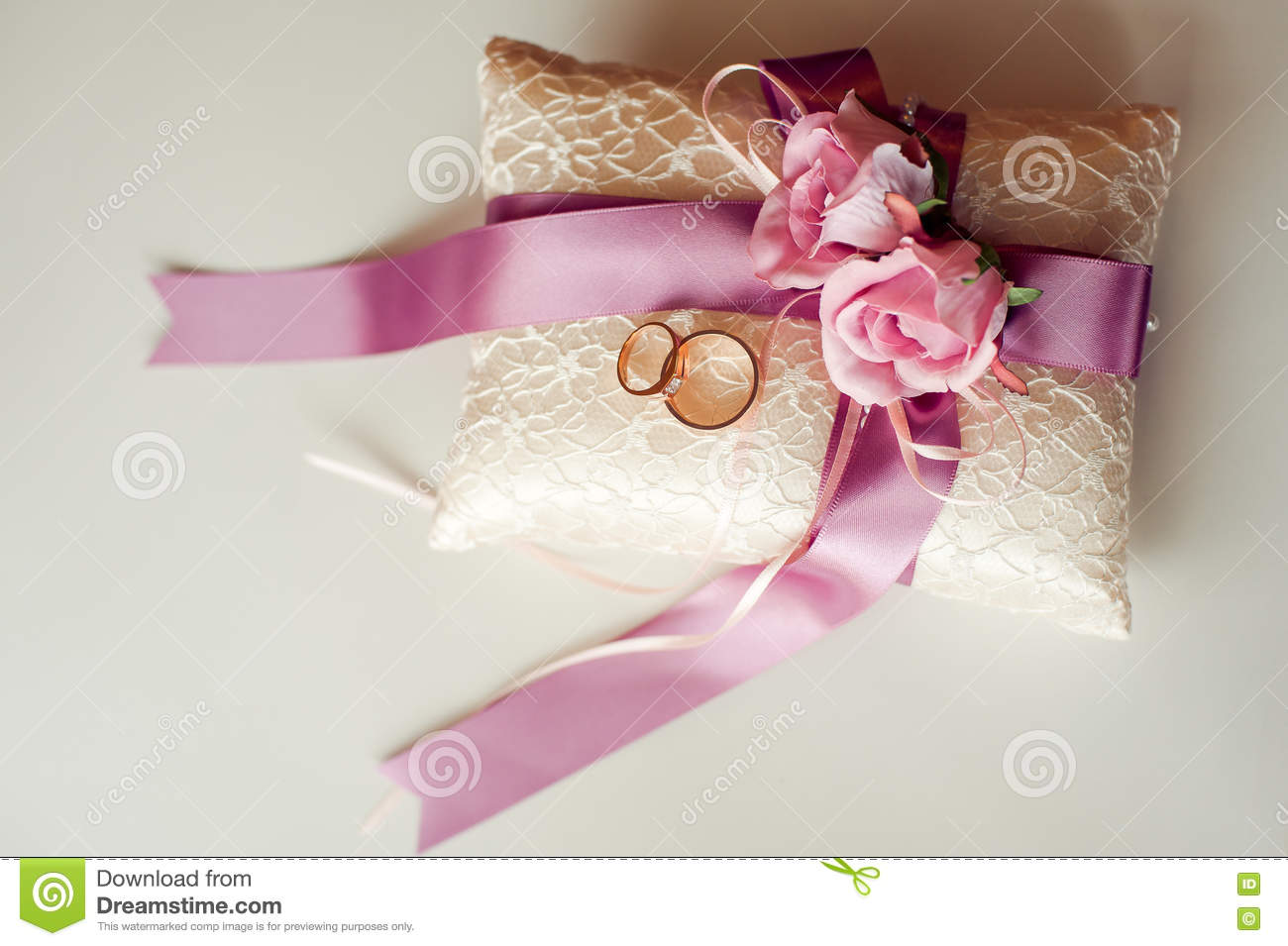 Pillow With Wedding Rings Purple Ribbons Stock Photo - Image of ...