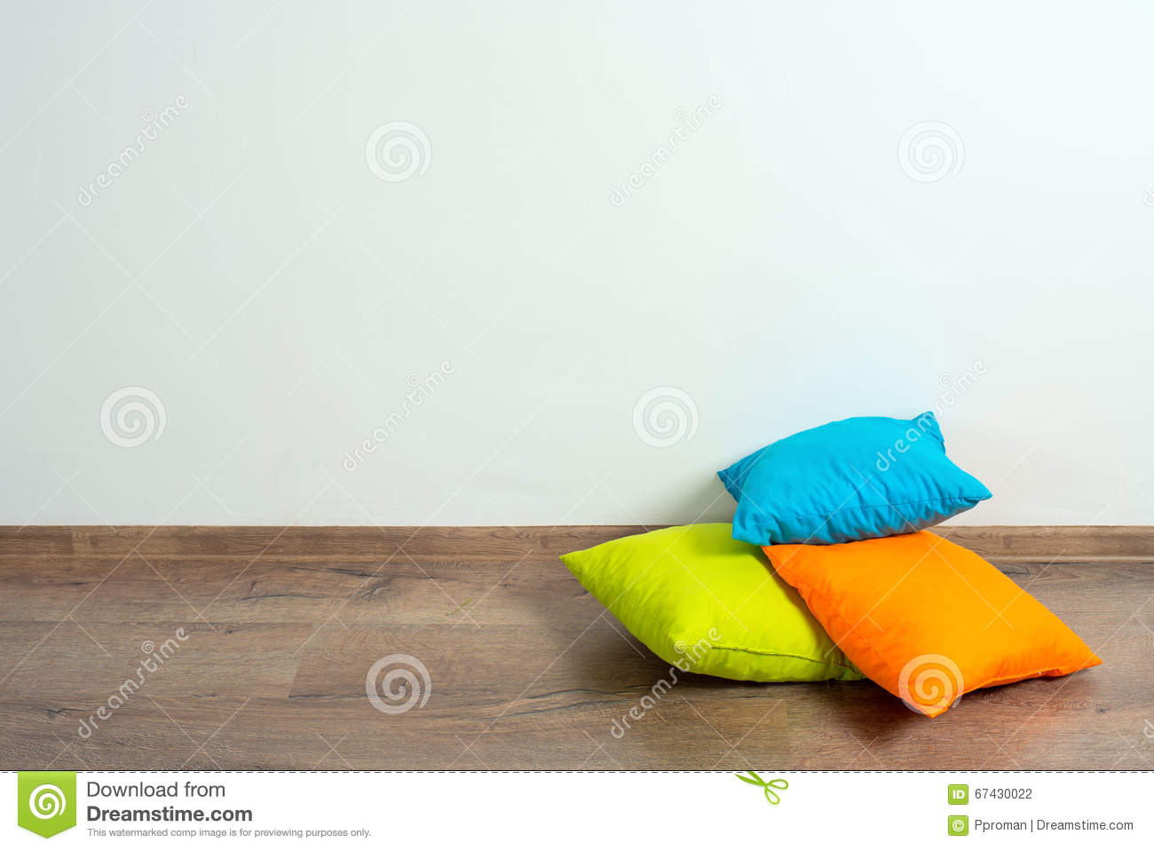 Pillows on floor stock photo. Image of comfortable, blue - 67430022