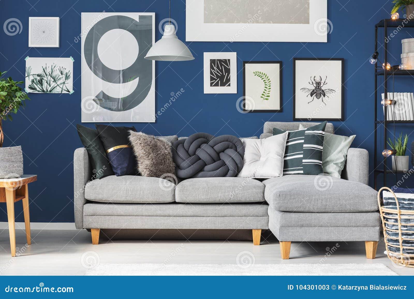 Astonishing Pillows On Grey Corner Sofa Stock Image Image Of Carpet Uwap Interior Chair Design Uwaporg