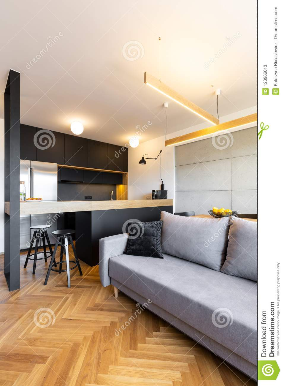 Pillows On Grey Sofa Next To Black Kitchen With Lights In Modern