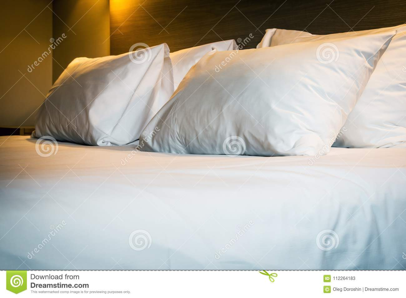 Pillows On A Large King Size Bed Stock Image Image Of Room