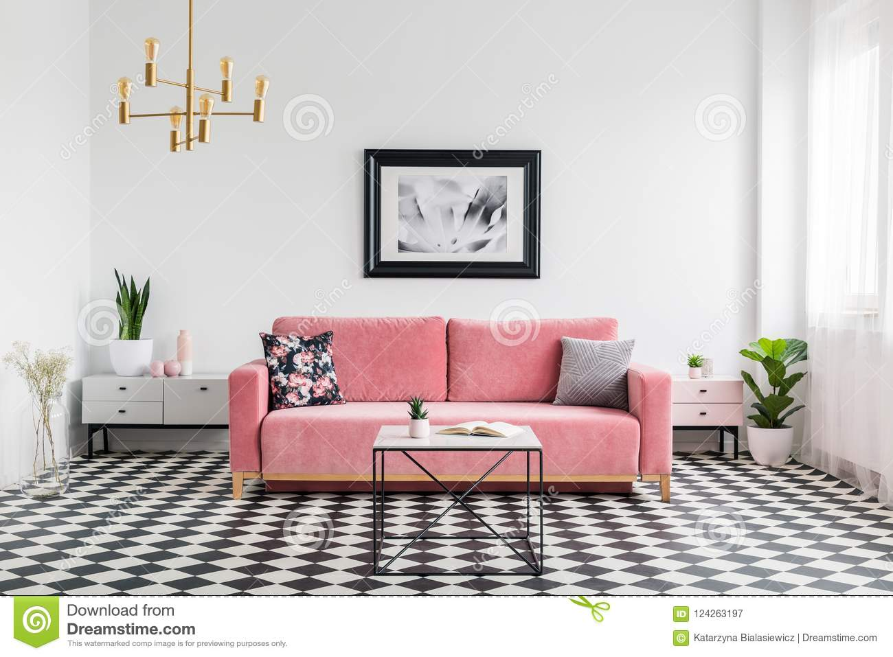 Tremendous Pillows On Pink Sofa In Spacious Living Room Interior With Interior Design Ideas Gentotthenellocom