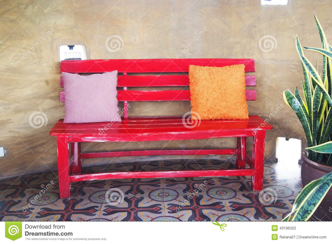 Unique Wood Bench Against Blank Wall Stock Images  Image 35247604