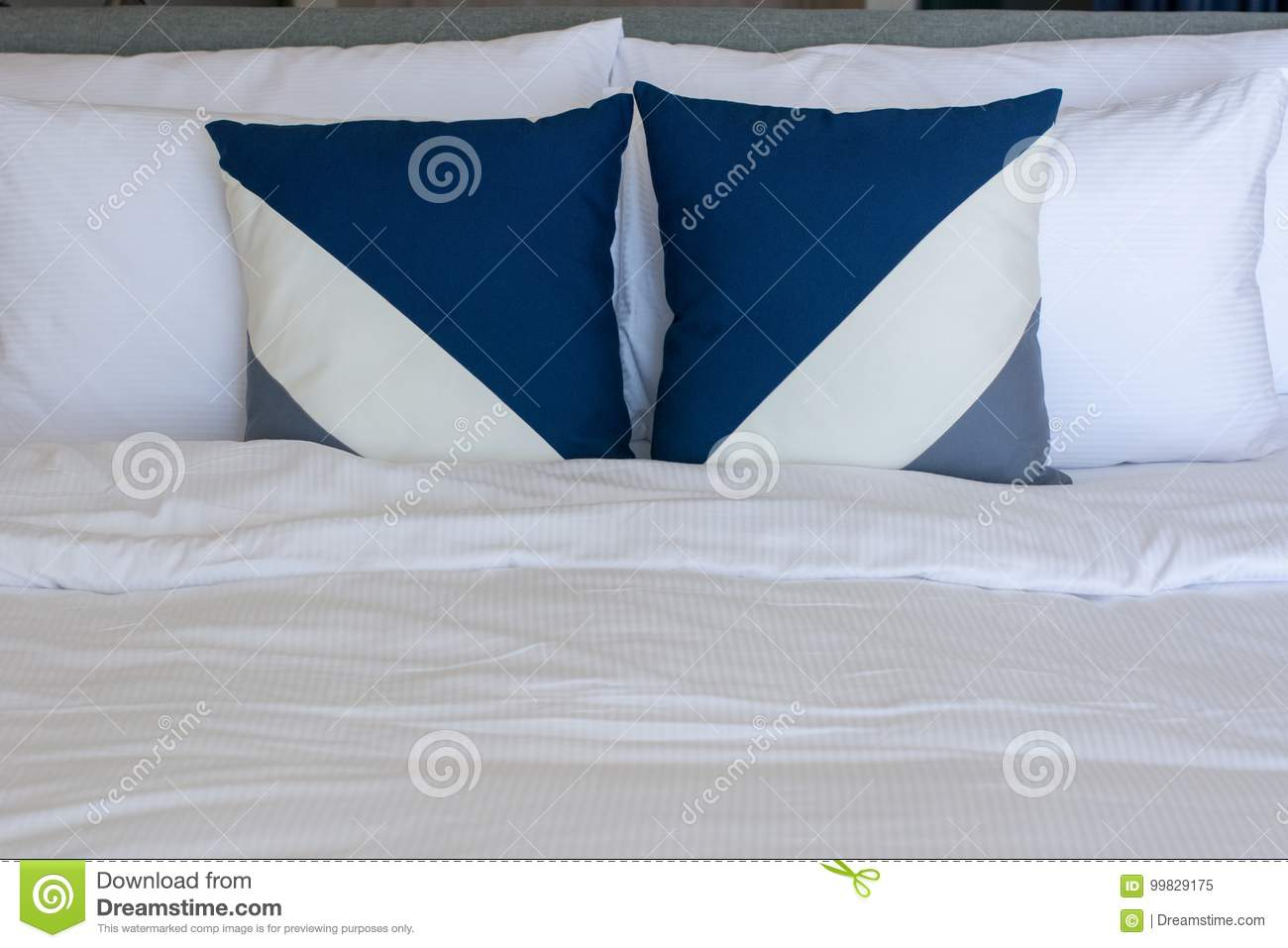 Pillows Setting On White Sheet Bedding Stock Image Image Of