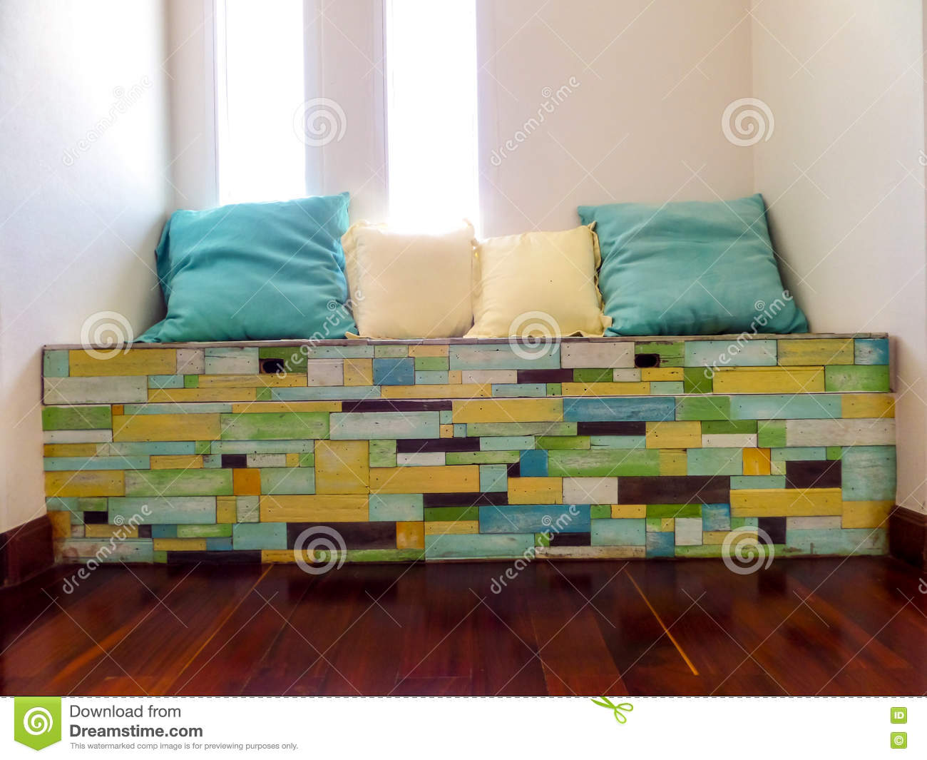 Groovy Pillows On Wood Pieces Bench Random Fancy Color On Surface Beatyapartments Chair Design Images Beatyapartmentscom