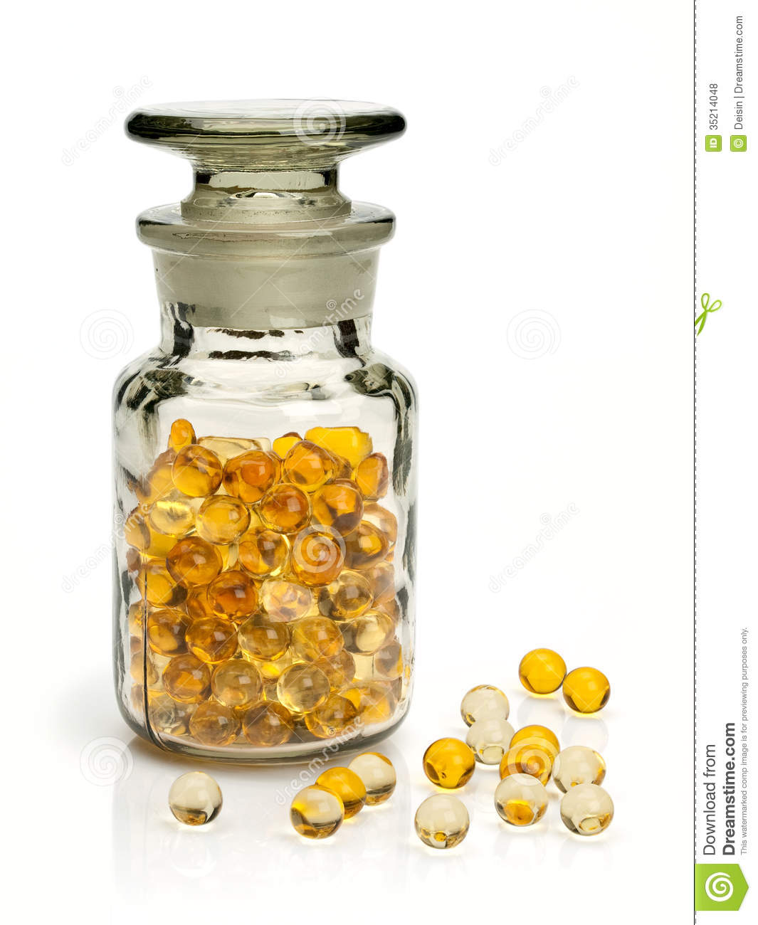 Pills with cod liver oil stock photo image of glass for Small pill bottles