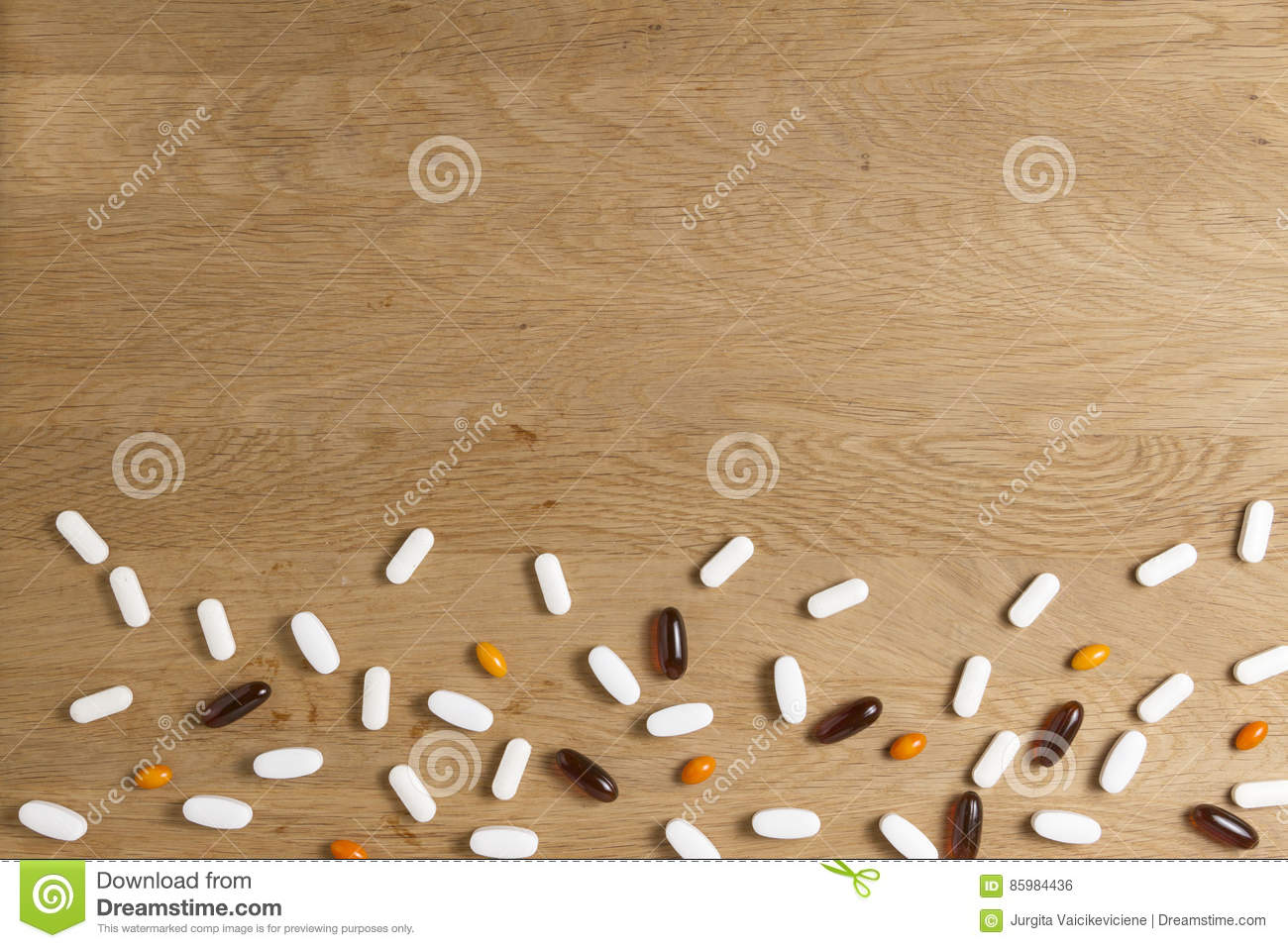 Pills Frame On Wooden Background. Vitamins, Dietary Supplements ...