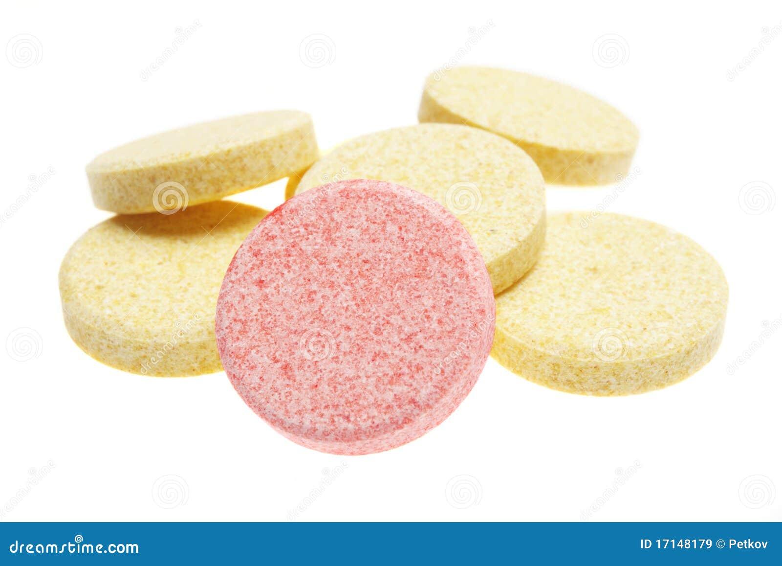 Pills on white background