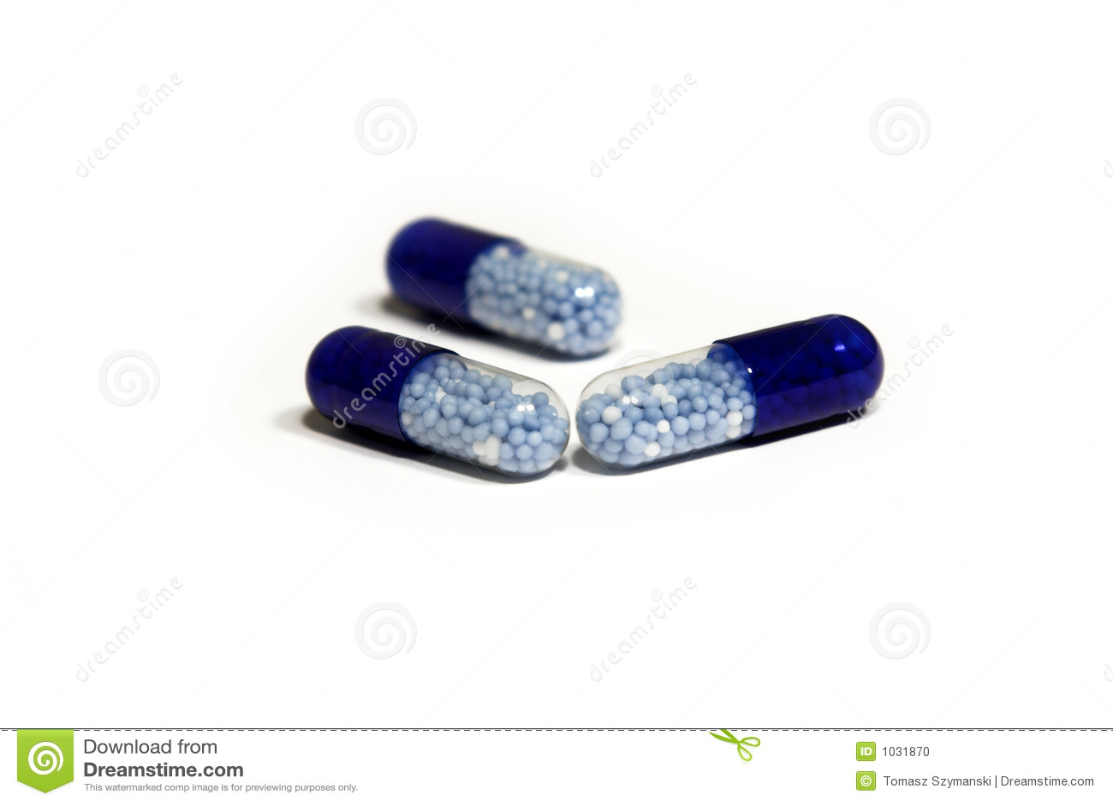 Pillules bleues blanches