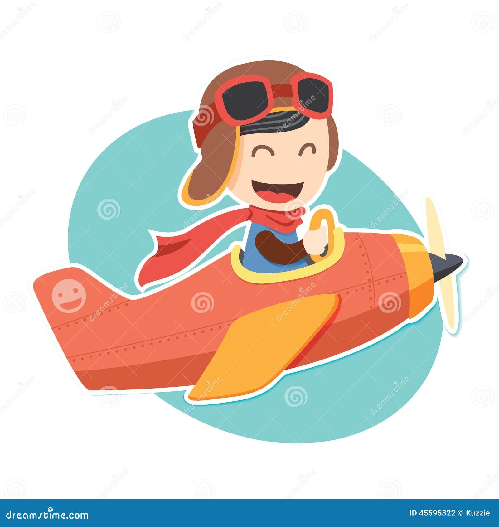 Pilot Boy Sticker Stock Vector - Image: 45595322