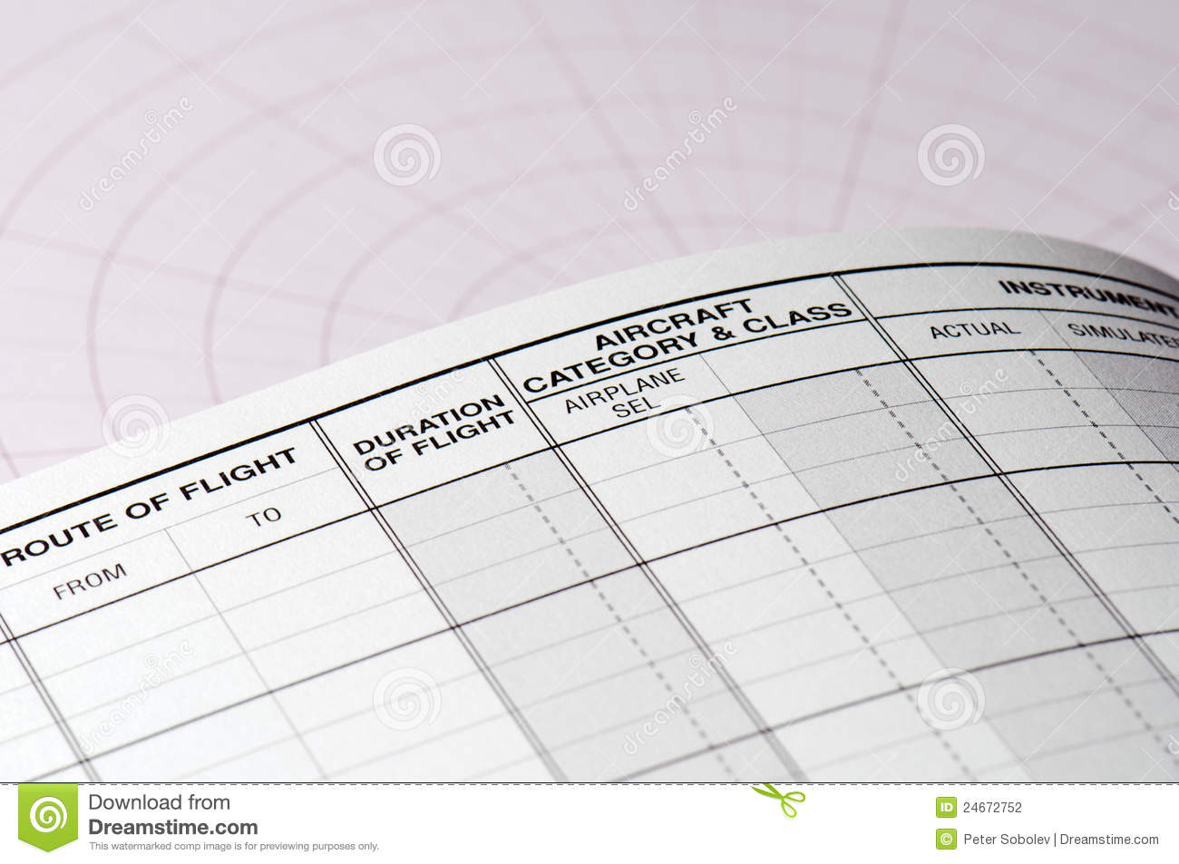 pilot logbook blank page stock photo image of table 24672752
