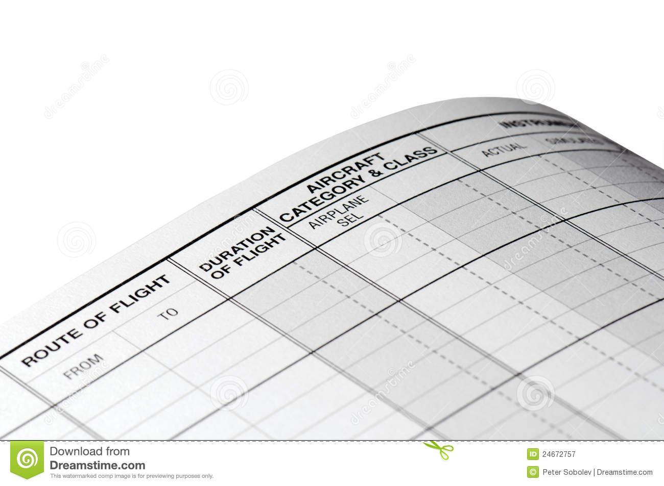 pilot logbook blank page stock image image of paper 24672757
