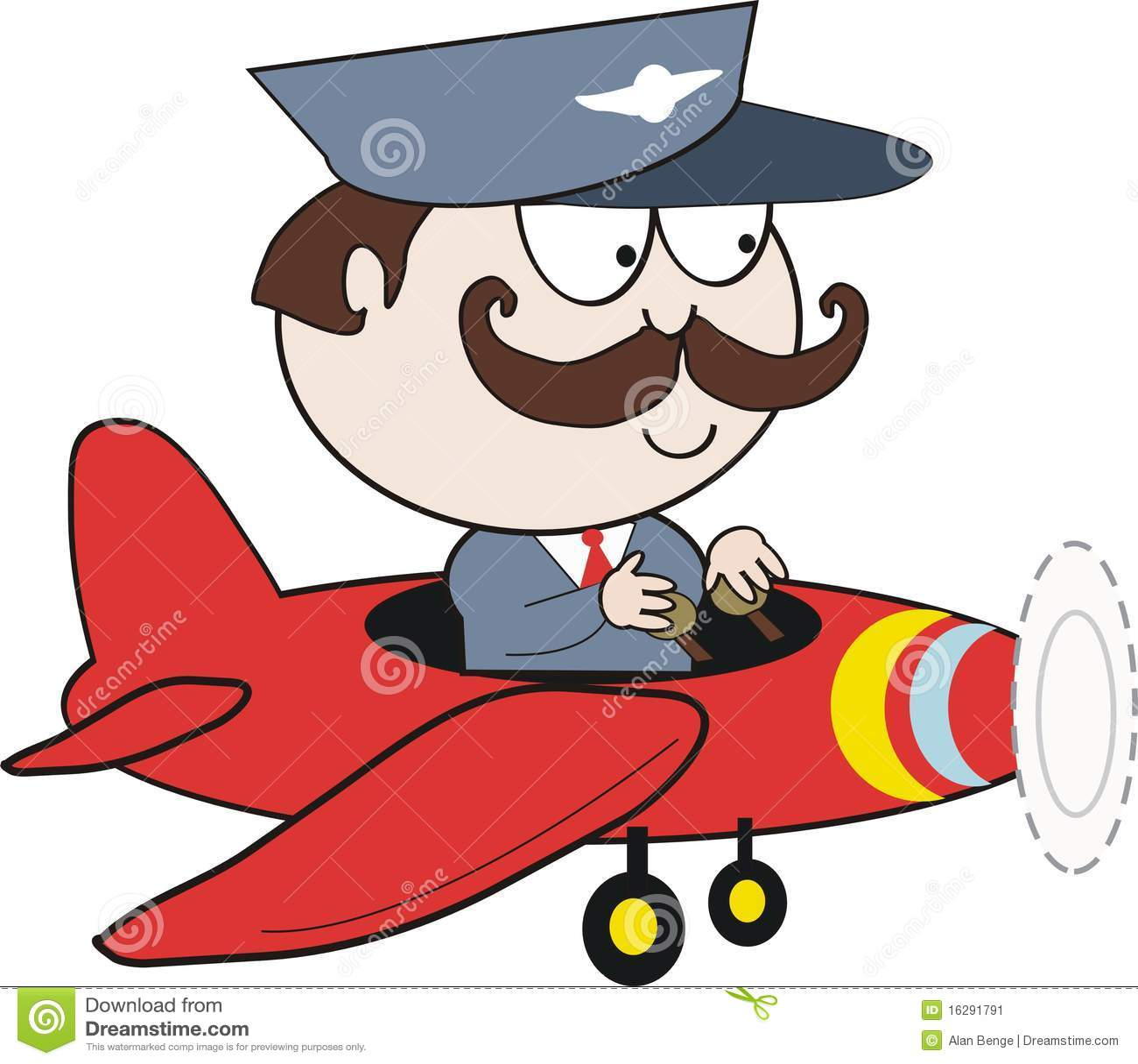 Pilot In Plane Cartoon Stock Image - Image: 16291791