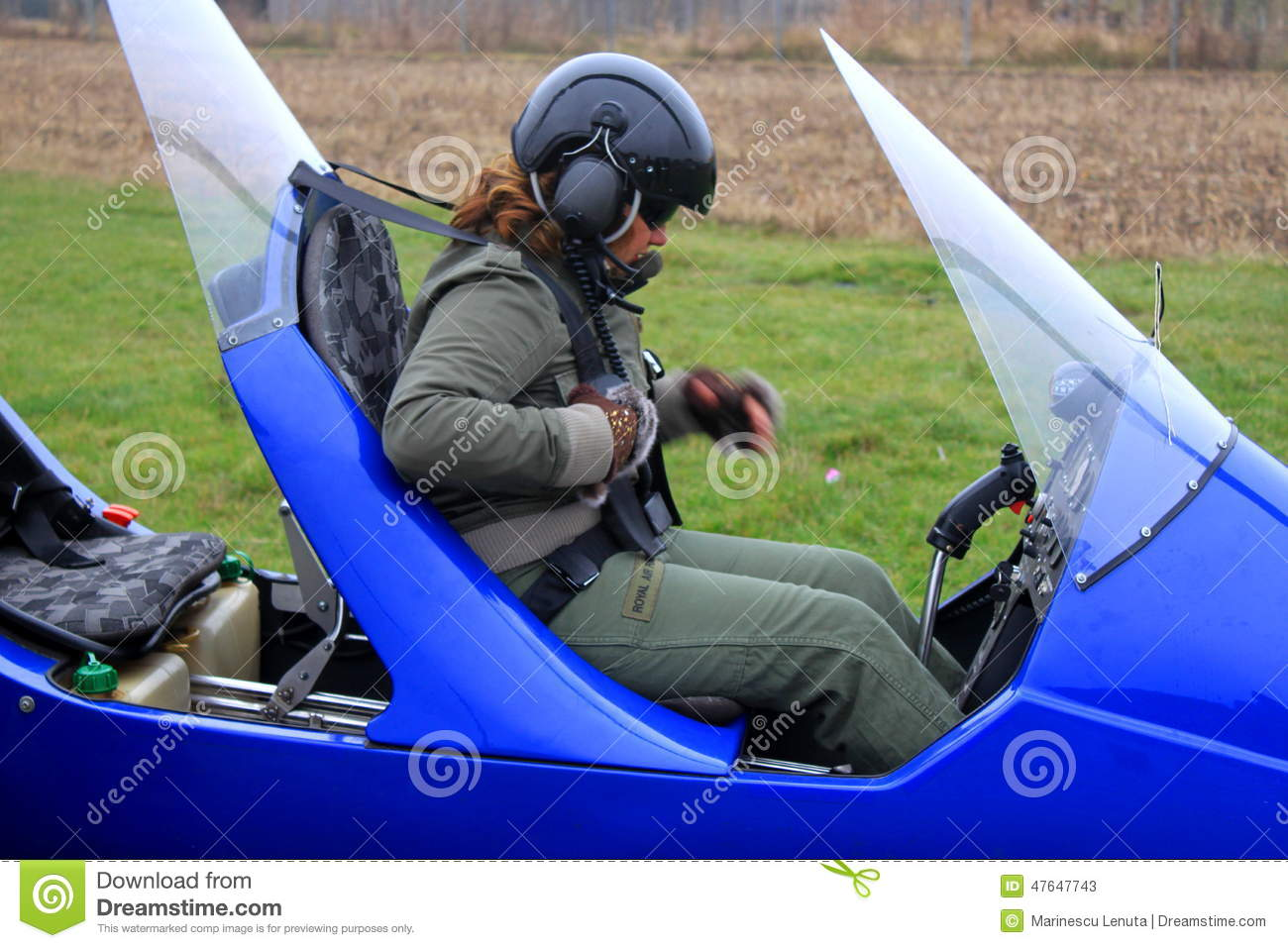 Pilot Ready For Takeoff With Gyrocopter Editorial Stock ...