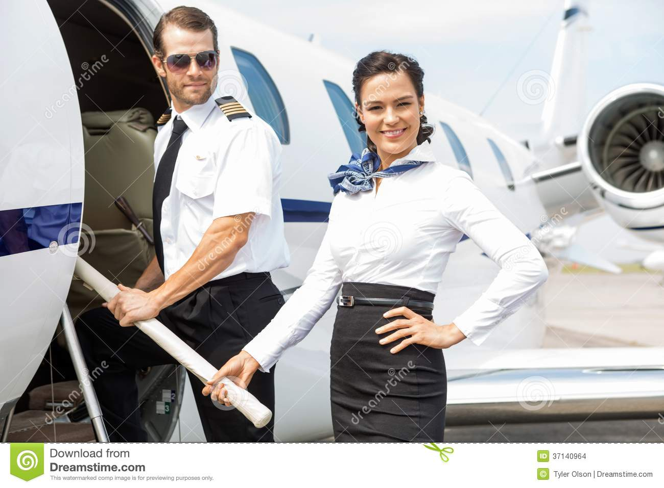 Pilot And Stewardess On Private Jet Stock Images  Image 37140964