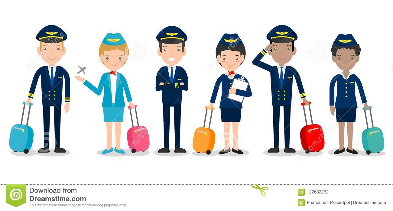 Pilot And Stewardess  Set Of Officers And Flight Attendants