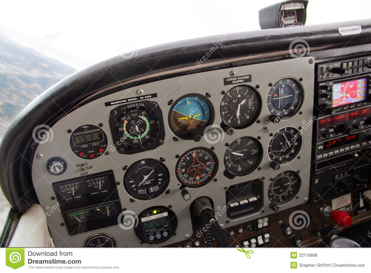 Airplane Instrument Panel : Pilot view of complex instrument panel airplane stock