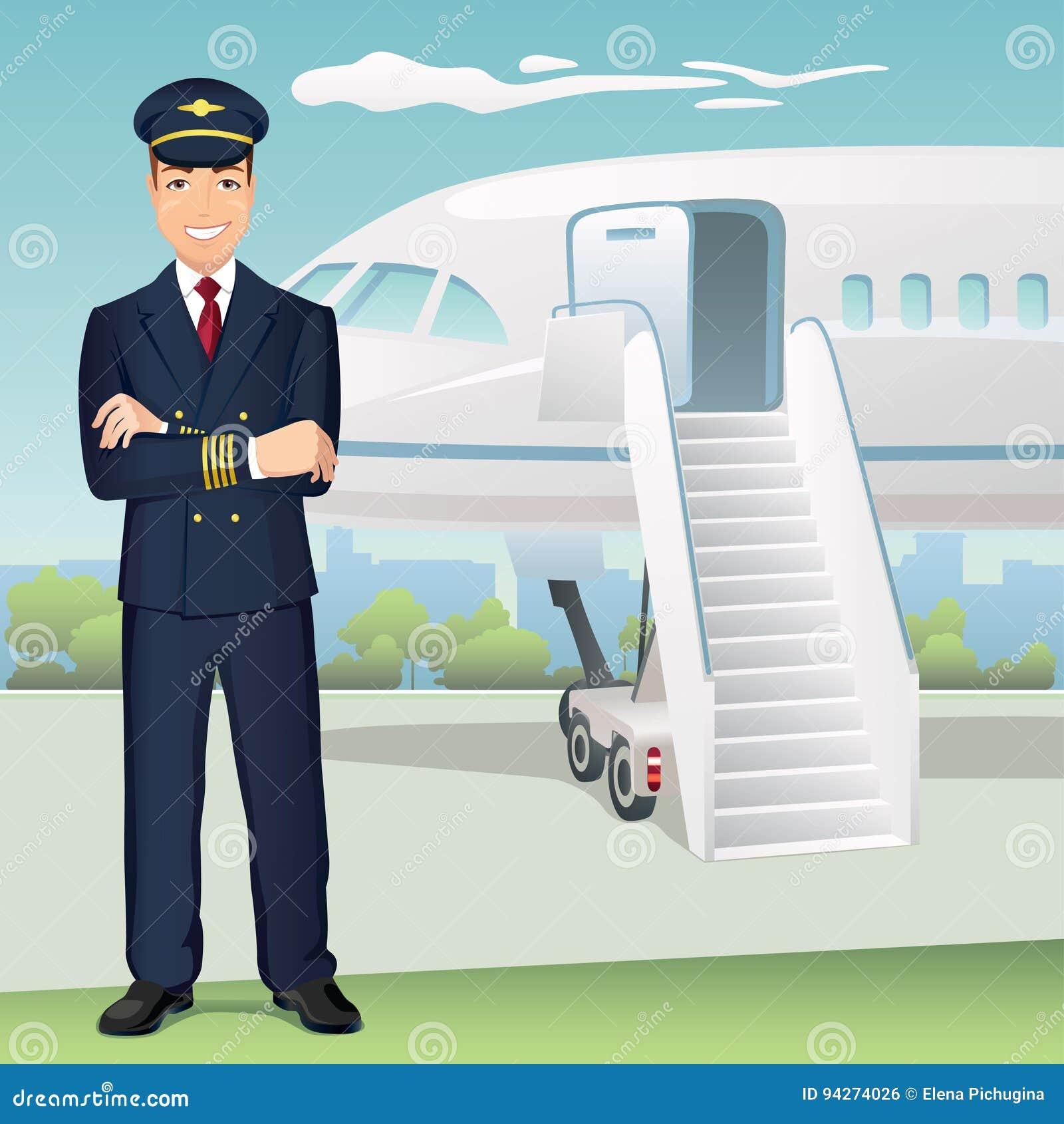 Pilota di linee aeree commerciali con i precedenti dell aeroplano