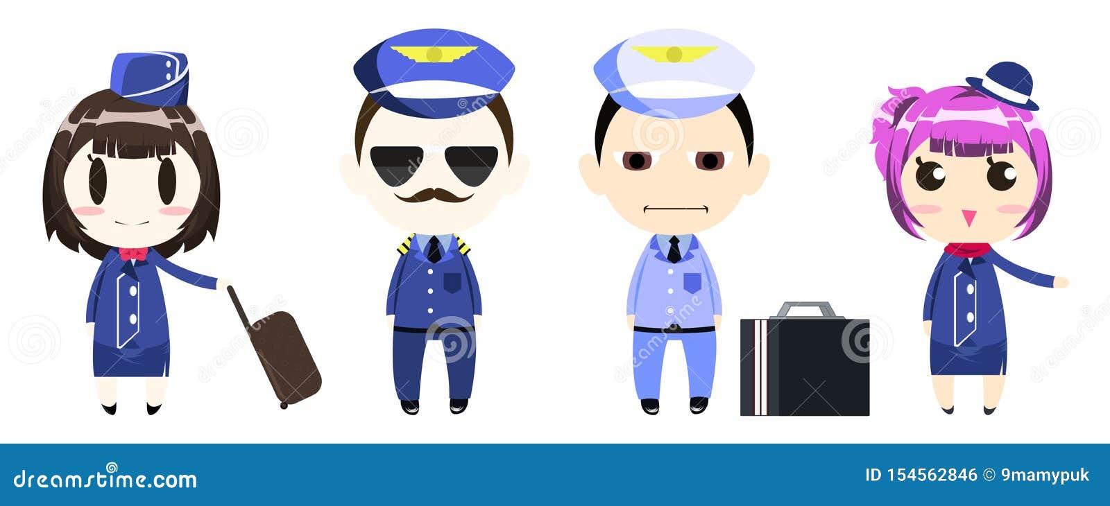 Piloto, capitán, equipo y azafata en personaje de dibujos animados uniforme