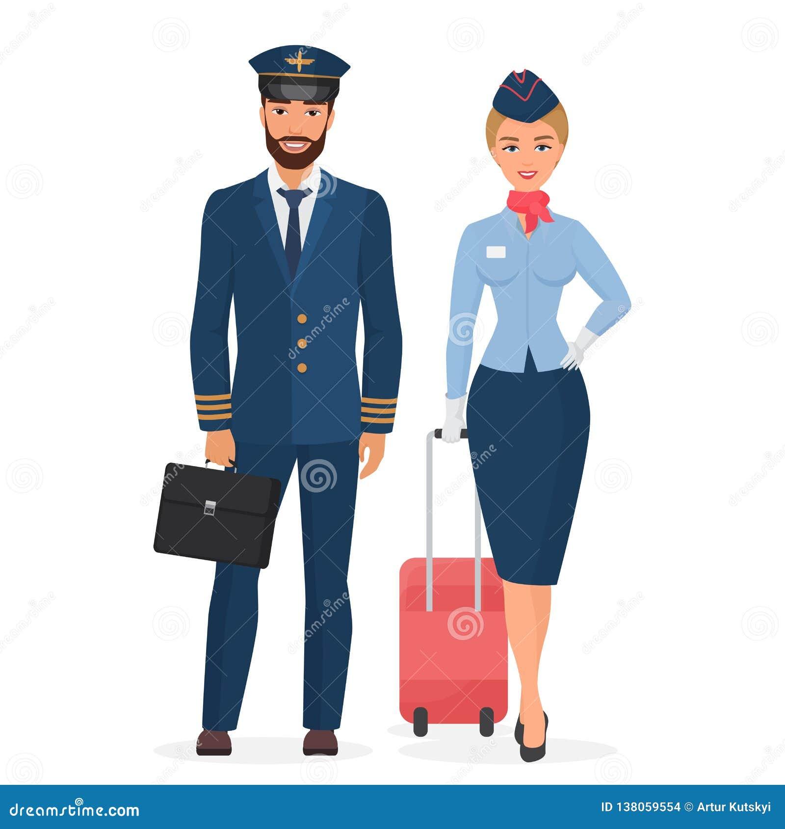 Piloto e comissária de bordo na ilustração lisa isolada uniforme do vetor