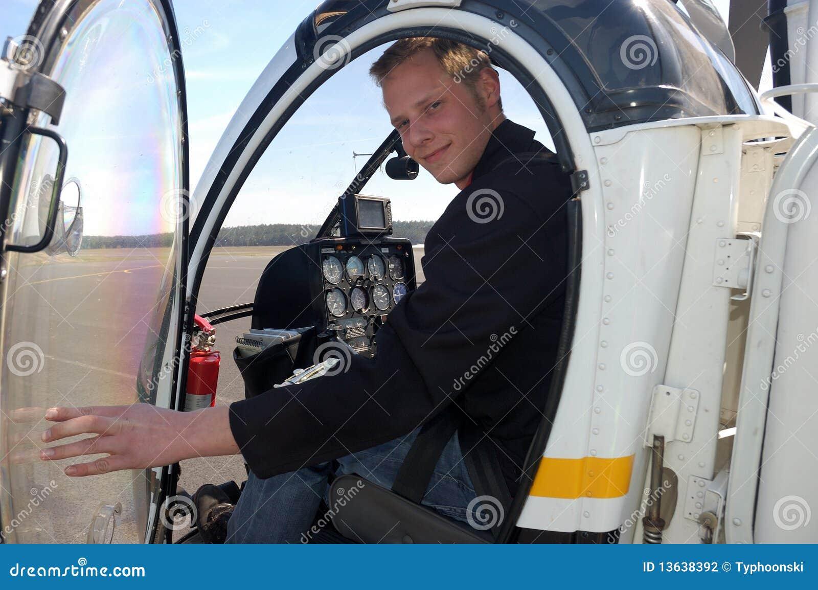 Piloto novo na cabina do piloto