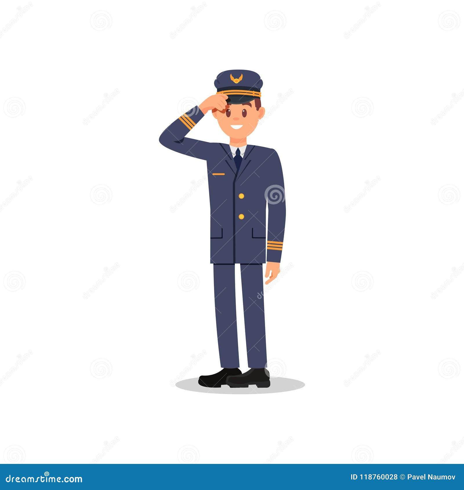 8bea81fc6e2f7 Piloto sonriente que sostiene sombrero a mano Aviador profesional Capitán  del aeroplano Ejemplo plano del vector