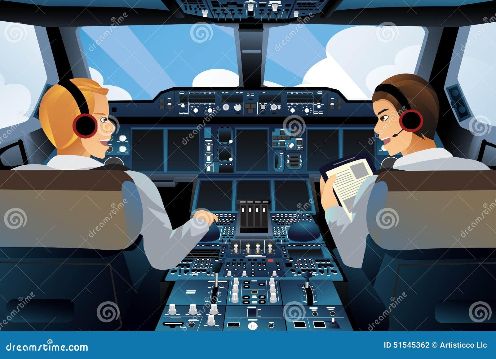 Piloto y copiloto dentro de la carlinga