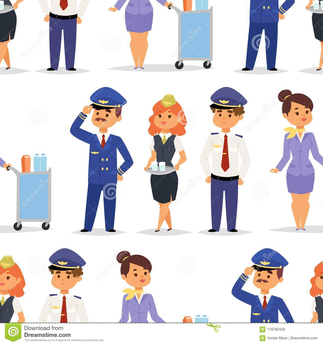 b15c82e227154 Pilots and stewardess vector airline character plane personnel staff air  hostess flight attendants people command. Flight attendants captain  seamless ...