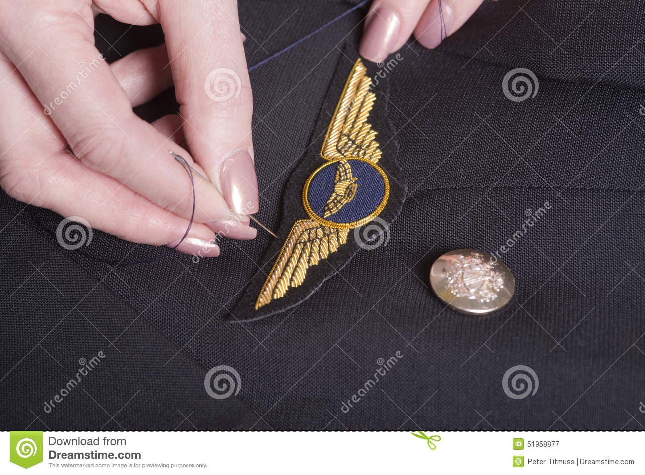 Pilots Wings Being Sewn Onto Uniform Stock Image - Image of wings