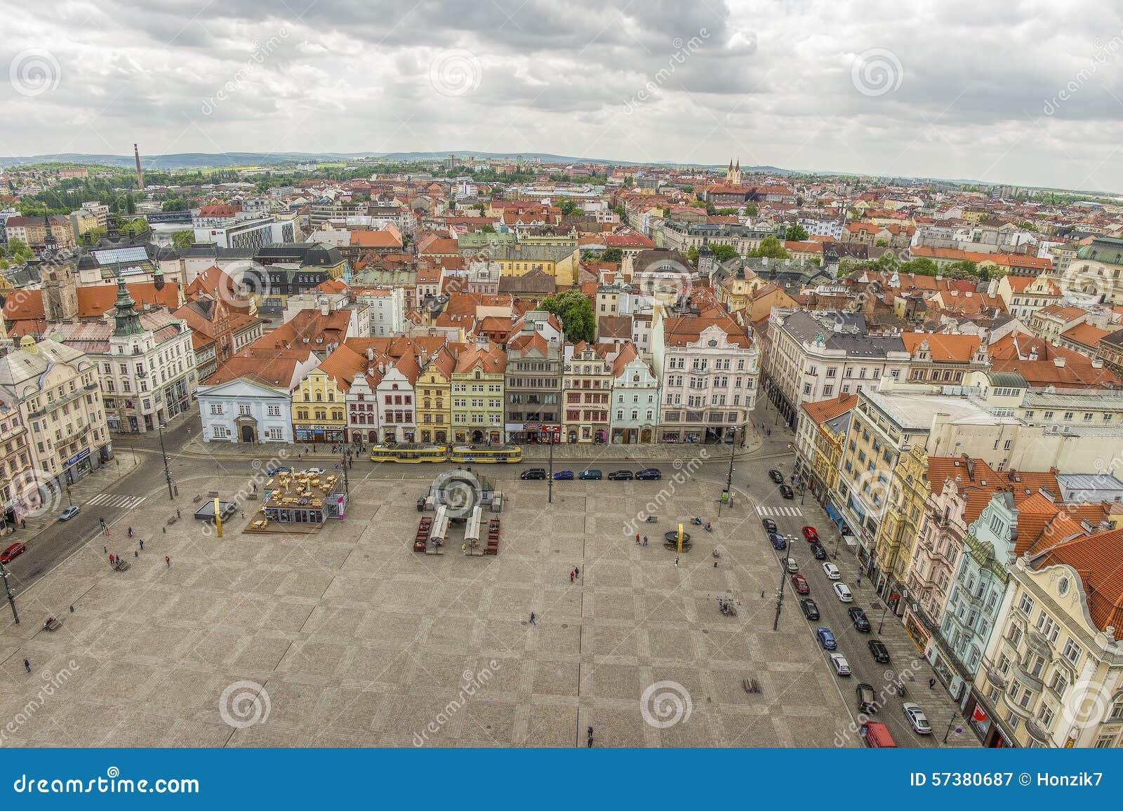 Pilsen het belangrijkste of centrale stads vierkante, stedelijke standpunt